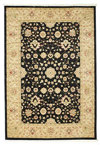 FeelGoodRugs 100 x 160 cm, Farahan Ziegler Orientteppich Teppich, Beige/Rot, Synthetisch, schwarz, 160x230