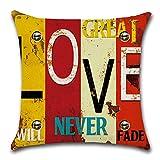 HZDHCLH 4er Set Kissenbezug kissenhülle 45 x 45 cm aus Baumwolle und Leinen Kissenbezüge für Sofa Gartenbett Outdoor Sofakissen Wohnzimmer (Haus & Love) - 3