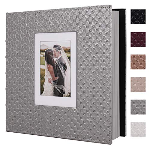 RECUTMS 60 DIY Photo Albums with Sticky Pages Button Grain Leather Cover 4x6 5x7 8x10 Photos of Any Size  Wedding Photo Album Baby Picture Book Family Scrapbook Photo Album (Gray)