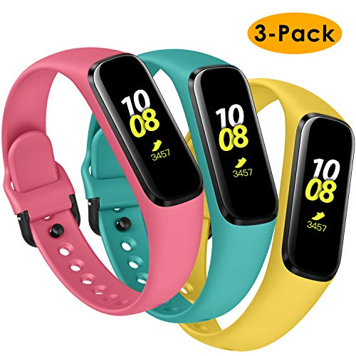 KIMILAR Armbänder Kompatibel mit Samsung Galaxy Fit E Armband Silikon (Nicht für Samsung Galaxy Fit) [3 Pack], Schlank Ersatzband Uhrenarmband für Galaxy Fit E 2019 Smartwatch -Blaugrün/Gelb/Rosa