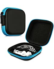 kwmobile fyrkantigt bärfodral för hörlurar – bärbar förvaringsväska för hörlurar hörlurar hörlurar små föremål med dragkedja – blå