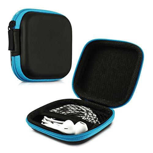 kwmobile In-Ear Kopfhörer Tasche - In Ear Headphones Schutztasche - Earphones Etui Case Cover Hülle für Kopfhörer in Blau