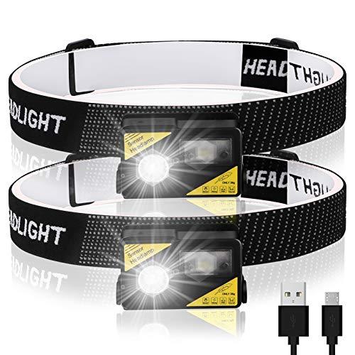 Guiseapue 2 Pezzi Torcia Frontale, Super Luminoso Lampada Frontale LED USB Ricaricabile con 5 modalità per Escursioni, IPX5 Impermeabile per Campeggio, Corsa, Pesca, Ciclismo