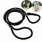 Tinksky 150cm 59' Durable Pet Dog Nylon Adjustable Loop Training Leash Slip Lead Collar Traction Rope (Black), [Importado de UK]