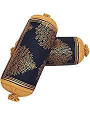 Jai Siya Ram Printers Cotton 144 TC Bolster Cover, Standard, Navy, 2 Pieces