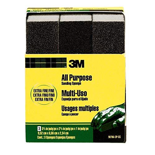 3M Extra Fine/Fine Sanding Sponge, 3-3/4-in x 2-5/8-in x 1-in, 3-Pack (907NA-3P-CC)