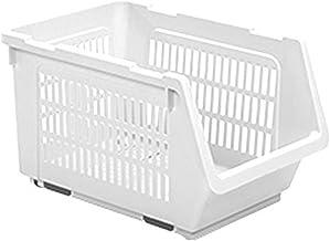 HOUZE MS-2301 Stackable Multi Purpose Rectangle Basket, White, Dim: 34.5x24x20cm