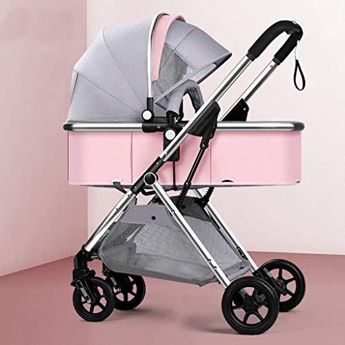 Cochecito de silla plegable, carruaje de bebé compacto, cochecito de cochecito de amortiguador bidireccional con reposabrazos desmontable, canasta, soporte de taza para bebés y niños pequeños (color: