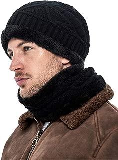 2-Pieces Winter Slouchy Beanie Hat Scarf Set, Thick Fleece Lined Warm Knit Skull Cap & Neck Warmer for Men Women