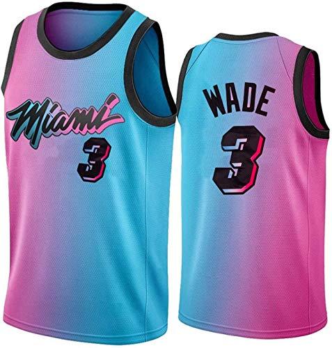 TGSCX Jersey de Hombre y Mujer NBA Miami Heat 3# Dwyane Wade Baloncesto Entrenamiento de Baloncesto Deportes y Ocio Secado rápido Vestido sin Mangas,M