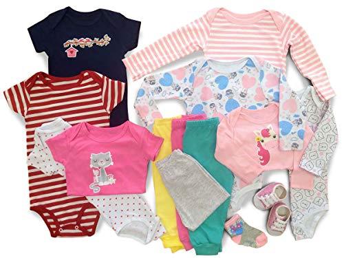 Kit Roupa De Bebe Maternidade 14 Pçs Enxoval Body E Mijão Meninas Tamanho:P