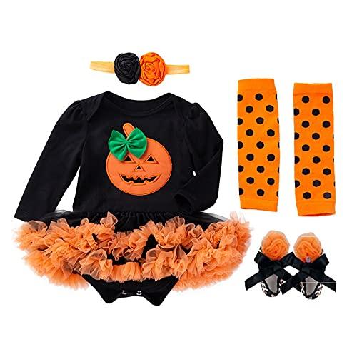 TMOYJPX Disfraces Niña Halloween Disfraz Mono Niño 0-24 Meses Invierno, Conjunto Ropa Bebe Niña, Mameluco de Falda+Banda de Pelo+Calcetines (0-3 meses, Calabaza~G)
