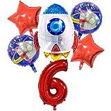 DIWULI, juego de globos espaciales cohete grande, globo XL número 6 rojo, globos de lámina de feliz cumpleaños 6º niño, fiesta temática, decoración, nave espacial, astronauta, estrellas, planeta