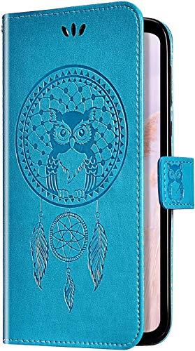 Uposao Samsung Galaxy J5 2016 Coque Flip Case,Hibou Capteur de rêves Motif Housse en Cuir PU Pochette Portefeuille à Rabat Clapet Fermeture Magnétique Etui avec Stand Support et Porte-Cartes,Bleu