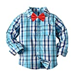 Kids Boys Plaid Shirts Cotton Baby Long Sleeve Button Down Gentle Blouse Tops Fall (Blue, 6-12m)