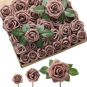 DerBlue Artificial Flowers Rose 60pcs Real Looking Fake Rose and 10pcs Leaves for for DIY Wedding Bouquets Centerpieces Arrangements Party Baby Shower Home Decorations (Dusty Rose)