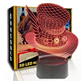 KangYD Lámpara de ilusión 3D Creative Magic Hat, luz de gradiente LED nocturna, E - Base para despertador (7 colores), Lámpara de decoración, Luces de colores, Regalo para niño