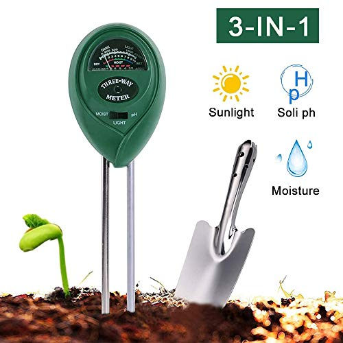 FRGHF Bodentester, 3-in-1 Pflanzen Bodentester Boden Feuchtigkeitsmesser Boden pH Messgerät Lichtstärke Meter, Bodenmessgerät kein Akku erforderlich für Bauernhof Garten Rasen, Indoor Outdoor