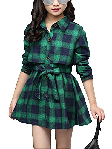 Little & Big Girls' Kids Check Plaid Long Sleeve Collar Neck Casual Button Down Shirt Dress Green Tag 120 (3-4 Years)