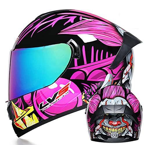 Casco retro de motocicleta de cara completa Hombres y mujeres adultos Casco Visera doble Protección cuesta abajo Casco completo Certificación ECE Cascos de motocross,9,S 55~56cm
