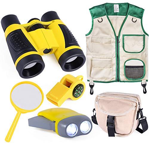 INNOCHEER Kids Outdoor Explorer Kit with Vest and Crossbody Bag, Children Adventure Costume Set with Binocular, Magnifying Glass, Hand-Crank Flashlight, Whistle for Boys Girls
