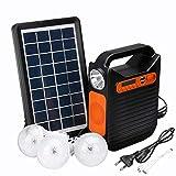 SISHUINIANHUA Kit de generador de Panel de energía Solar de Bluetooth al Aire Libre para Interiores El Sistema de Inicio del Cargador USB + 3 Bombillas LED + Radio de Emergencia de Radio MP3