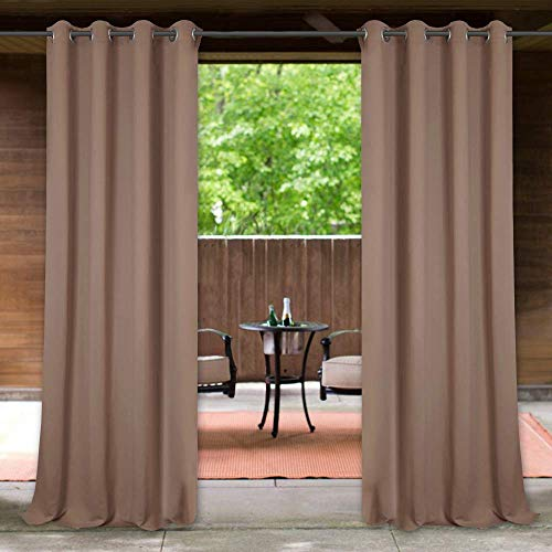 StangH Outdoor Patio Curtains Blackout - Waterproof Outdoor Curtains Pergola Silver Grommet Panel Drapes Summer Sunlight Block Out for Pavilion / Garden, Mocha, W52 x L84 inches, 1 Panel