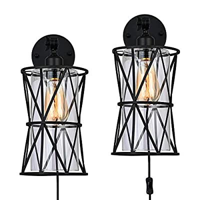 Wall Sconce Lighting Set of 2 Industrial Wall Mounted Lamps with Metal Wire Cage and Glass Shade Vintage Plug in Sconce Fixture for Bedroom Living Room Foyer, 2-Pack