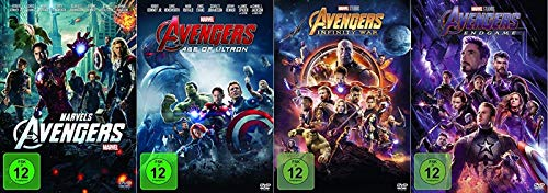 Avengers 1-4 (1+2+3+4) Komplett / Teil 1 + Age of Ultron + Infinity War + Endgame [DVD Set] Marvel