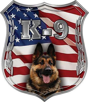 Weston Ink Reflective German Shepherd K-9 Police Dog Decal with American Flag