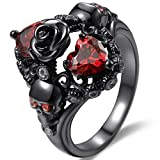 Black Gold Plated Skull Gothic Death Rose Wedding Statement Cocktail Party Biker Ring (Black Red, 6)