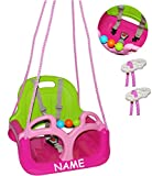alles-meine.de GmbH Babyschaukel / Gitterschaukel - incl. Name - mitwachsend & umbaubar - mit Gurt -  ROSA / PINK  - Leichter Einstieg ! - 100 kg belastbar - Kinderschaukel ab ..