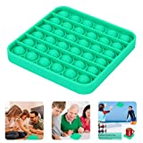 Push Pop Bubble Fidget Sensory Toy, Push It Bubble Wrap Toy, Autism ADHD Special Needs Stress Reliever, Popping Games for Kids and Adults, Square, Green, Silicone, BPA Free