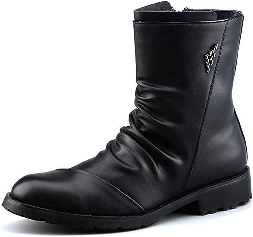 FGFKIJ botas de los hombres botas de Chelsea botas de Cuero Retro de Negocios Botines clásicos de Martin Zapaños Elegantes otoño Invierno negro 38-44
