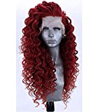 SHIYID Vin Rouge Crépu Bouclés Synthétique Avant de Lacet Perruque Résistant À La Chaleur Cheveux Naturel Hairline Séparation Libre Pour Les Perruques