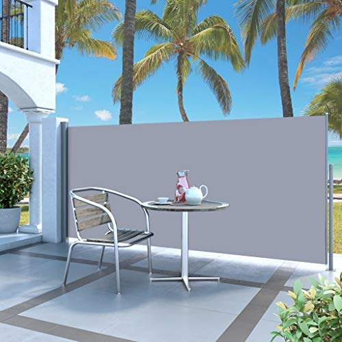 UnfadeMemory Toldo Lateral Retráctil con Gran Pantalla para Jardín Patio Balcón,Protección de la Intimidad,Protección Solar,Color Opcional,Dimensiones Opcional (120x300cm, Gris)