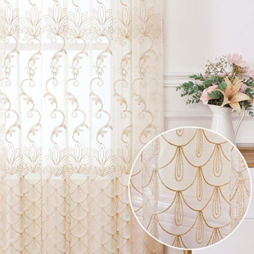 Jiyoyo Embroidered Lace Sheer Curtain for Living Room Bedroom,Rod Pocket Flower Voile Drapes/Panels, (Beige with Silver Threading Embroidery, 50 by 84 Inch,1 Panel)