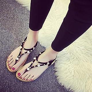 Shukun Tenen flip flops platte sandalen vrouwelijke zomer grote maat clip toe sandalen vrouwelijke parels studenten woning...