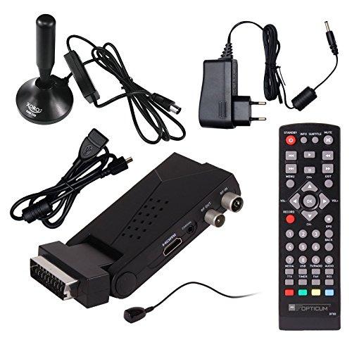DVB-T/T2 SET: Opticum HD AX Lion Air 2 HEVC DVB-T/T2 Receiver + Xoro HAN 150 DVB-T/T2, FM, DAB Aktive Antenne (Full HD, HEVC/H.265, HDTV, HDMI, SCART, USB 2.0 DVBT DVBT2 DVB-T2)