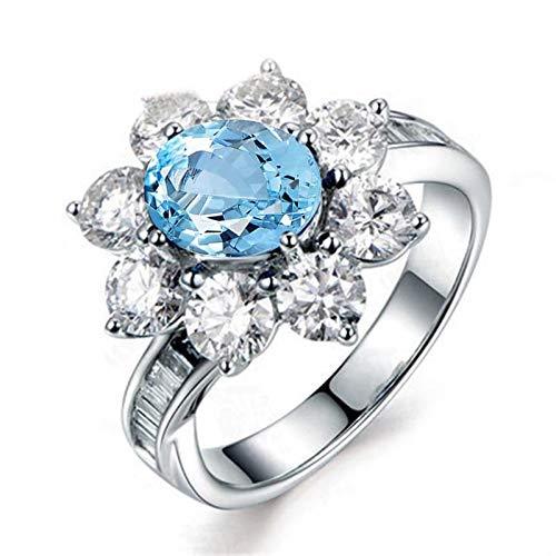 Anyeda 925 Silber Ring Damen Blumenring Mit Natürlichem Topas Ringgröße 61 (19.4)