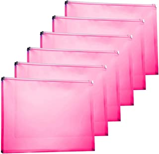 TIENO 6pcs Legal Plastic Zip Envelopes Side Loading Frosted Folder Storage File Holder Home Office Organizer Red