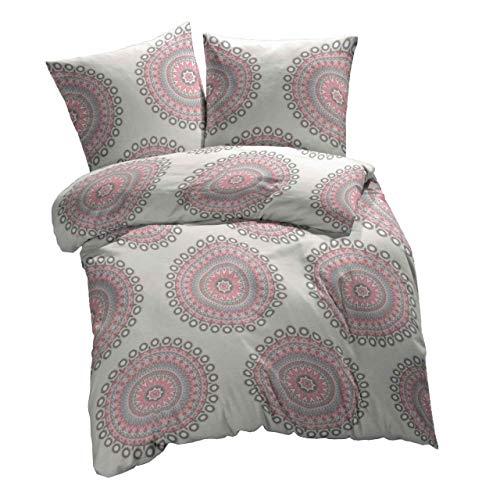 etérea 2 TLG. Mikrofaser Bettwäsche-Set - Ganzjahres & 4-Jahreszeiten Bettbezug - Mandala Pink, 135x200 cm + 80x80 cm
