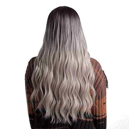 Pelucas onduladas largas, pelucas onduladas largas beige de la pendiente negra Pelucas del pelo largo de las mujeres pelo falso 65cm