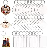 Sublimation Keychain Blanks, 30Pcs DIY MDF Blank Keychain with Key Rings, Double-Side Printed Heat Transfer Keychain