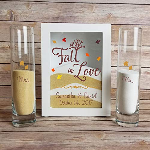 Sand Unity Ceremony Set-Wedding Sand Ceremony Set, Sand Included in Your Choice of Colors, White Shadow Box for Unity Candle Ceremony, Sand Ceremony Frame with Lid - Unity Candle Sand Set For Weddings