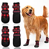 FLYSTAR Dog Shoes for Medium, Large Dogs, Waterproof Reflective Adjustable Winter Dog Boots, Anti-Slip Rain/Snow Outdoor Warm Dog Shoes Paw Protector for Running, Hiking, Walking,etc.