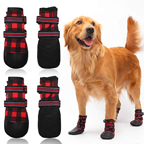 FLYSTAR Dog Shoes for Medium, Large Dogs, Waterproof Reflective Adjustable Winter Dog Boots, Anti-Slip Rain Snow Outdoor Warm Dog Shoes Paw Protector for Running, Hiking, Walking,etc.