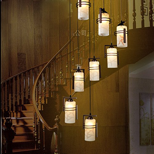 LED estilo chino escalera alta lámpara cinco ocho villas duplex espiral escaleras restaurante largo lámpara decoraciones 20 -- enviado tenue luz LED: Amazon.es: Iluminación