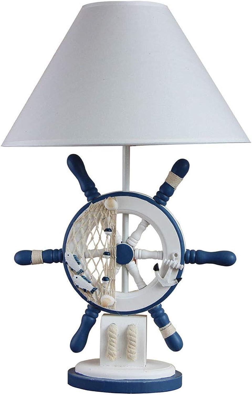 HXZM Mediterrane Ruder Kindertischlampe, kreative hlzerne Schlafzimmer-Nachttischlampe E27 Heirat-Dekoration Lampe Beleuchtung Schalt-Schaltet, 54  35CMwarm Licht