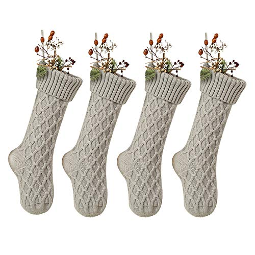 SherryDC Cable Knit Christmas Stockings, Large Size Personalized Fireplace Hanging Stockings for Christmas Decorations (Large/18in, Grey 4 Pack)